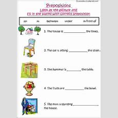 English Grammar Worksheet With Pictures To Practice Preposition, Ideal For Grade 1 Kids Or Esl