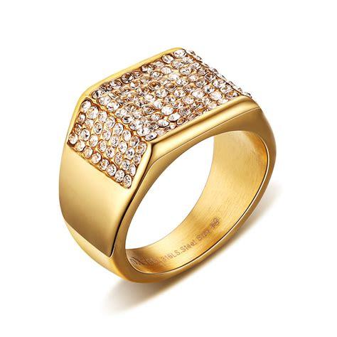fashion gold color cz zircon wedding rings for men vintage