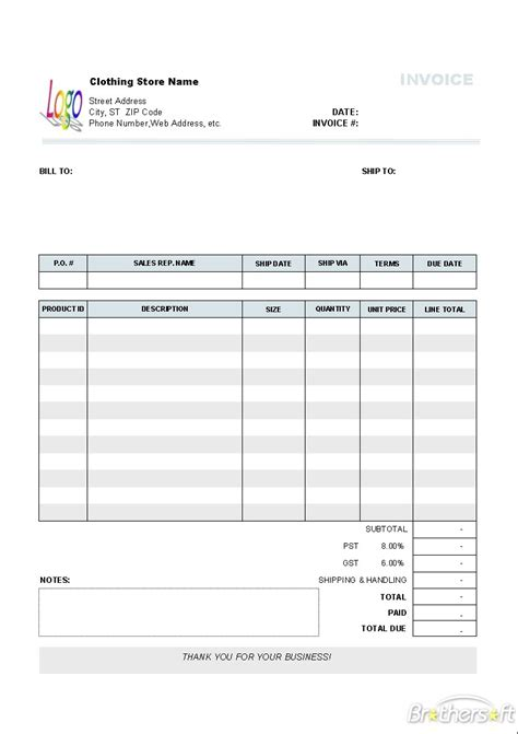 clothing store invoice template clothing