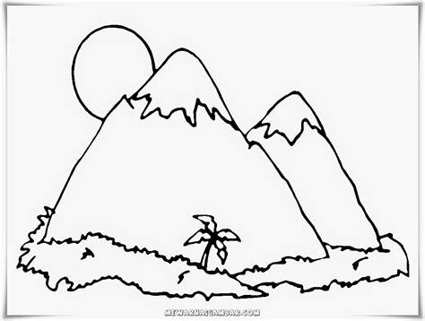 mewarnai gambar gunung meletus