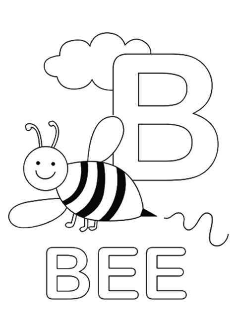 Coloring Letter B by Bumble Bee Letter B Coloring Page Free Printable