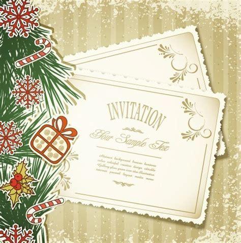 Free Vintage Merry Christmas Invitation Card Ornaments