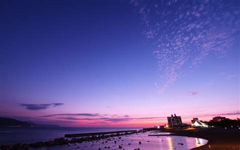 japan sea beach sunset night photography preview