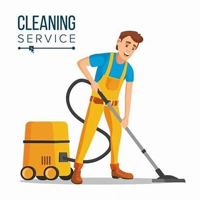 Cleaning Cartoon Office Vector Cleaner Vacuuming Floor