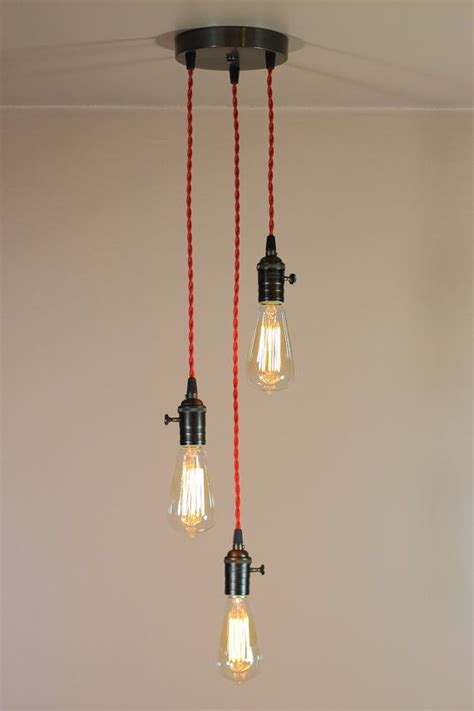 3 light chandelier w bare bulb pendant lights