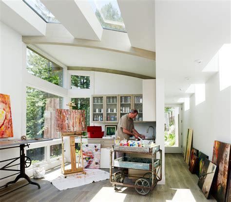 artist home studio artist studio overlooks guest cabin with rooftop garden