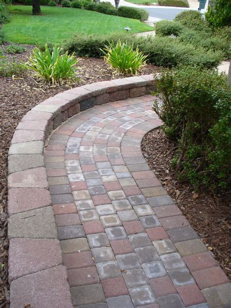 paver walkways paver walkway with wall google search outdoors pinterest