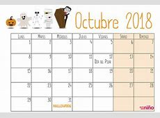 Octubre Calendario escolar 20182019 para imprimir