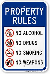 Property Rules No Alcohol Drugs Smoking Weapons Sign, SKU ...