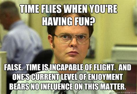 Have Fun Meme - time flies when you re having fun false time is incapable of flight and one s current level