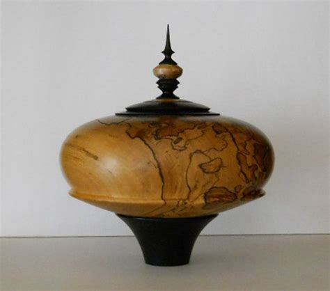 lidded bowl vessel woodturned spalted red gum