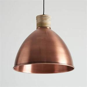 Antique copper and natural wood pendant light by horsfall
