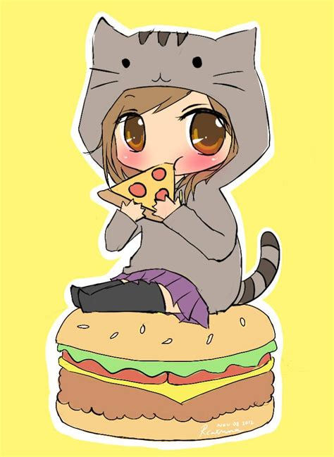 anime pusheen girl   burger eating pizza awesome