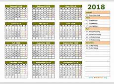 2018 kalender 2 2018 Calendar printable for Free