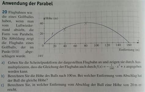 anwendung der parabel flugbahn eines golfballs ohne