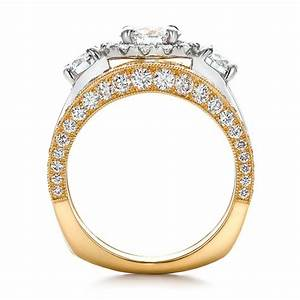 estate two tone wedding and engagement ring set 100619 With estate wedding ring sets