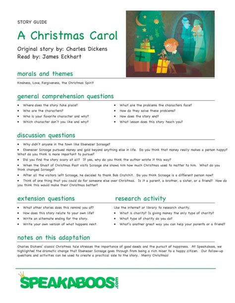 lesson plans a christmas carol speakaboos worksheets