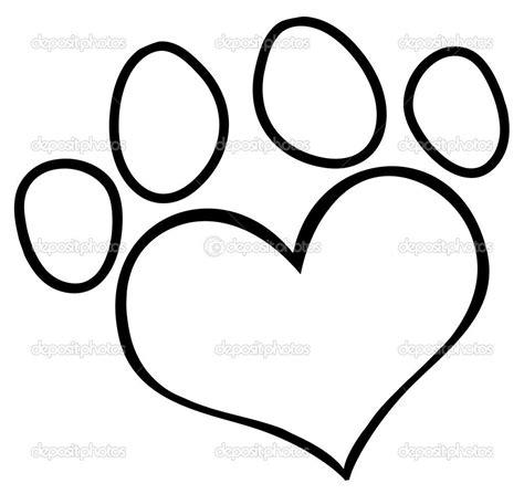 paw print outline dog paw heart clip art depositphotos