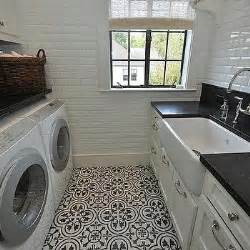 tile flooring ideas for laundry room black and white laundry room with beveled mirrored subway