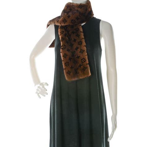 louis vuitton monogram mink fur scarf stole wrap