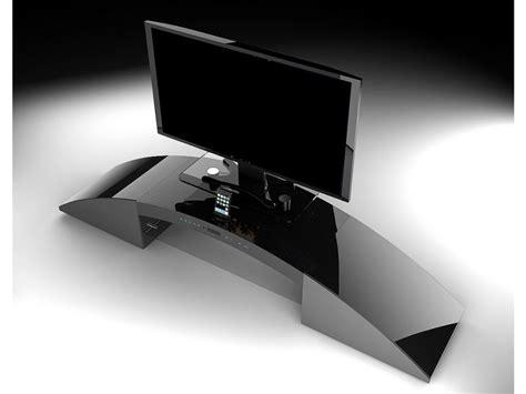 bureau noir laqué pas cher meuble tv home cinéma intégré decibel noir ou blanc