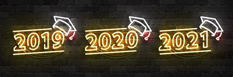 vector set  realistic isolated neon sign  graduation