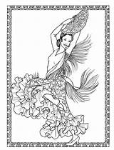 Pages Coloring Adult Costumes Dancers Books Dancing Colouring Sheets Dance Exotic Colour Mexican Printable Embroidery Ballet Ballerina Dover Ballets Favorite sketch template