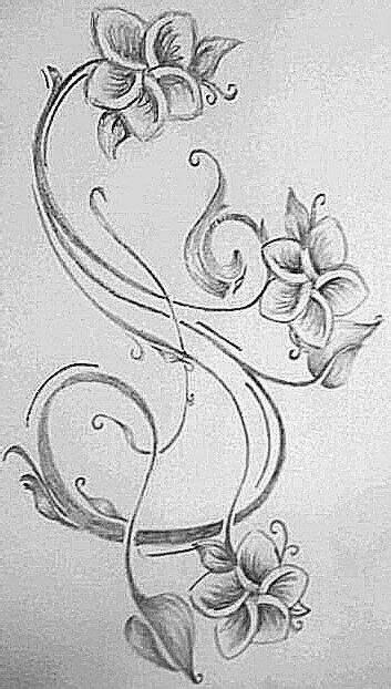 Hawaiian flower with filigree swirls | Hawaiian tattoo