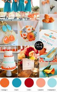 themed wedding centerpieces turquoise and orange wedding orange and teal