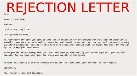 sample rejection letter samples business letters