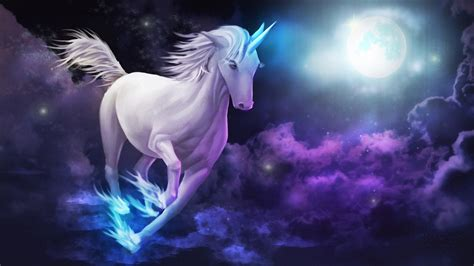 Wallpaper For Ipad 3 Unicorn Galloping Sky Clouds Full Moon Desktop Wallpaper Hd For Mobile Phones And Laptops