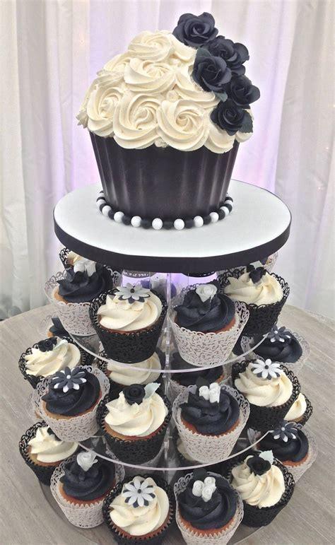 black white wedding cupcake tower  giant cupcake top