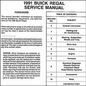 1991 Buick Regal Repair Shop Manual Original