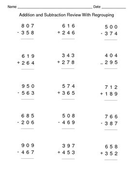 addition and subtraction review with regrouping worksheets by connors