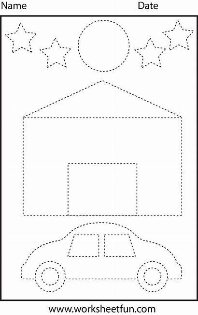 Tracing Shapes Worksheets Worksheet Preschool Kindergarten Printable