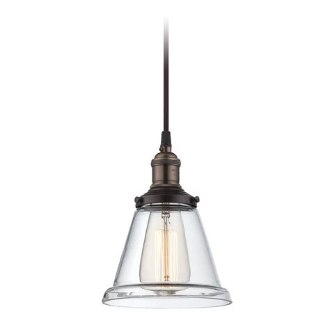 rustic bronze vintage mini pendant light with clear glass