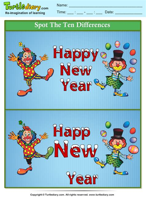 spot  differences happy  year clown worksheet