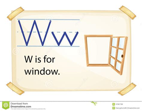 letter w is for walk stock vector image 71024801 a letter w for window stock vector image 47067799