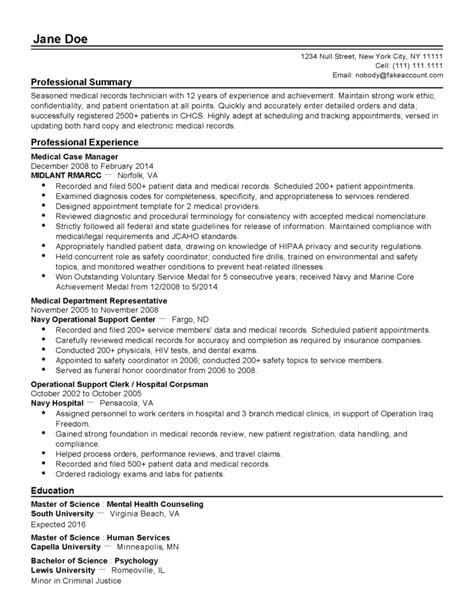 professional medical records technician templates