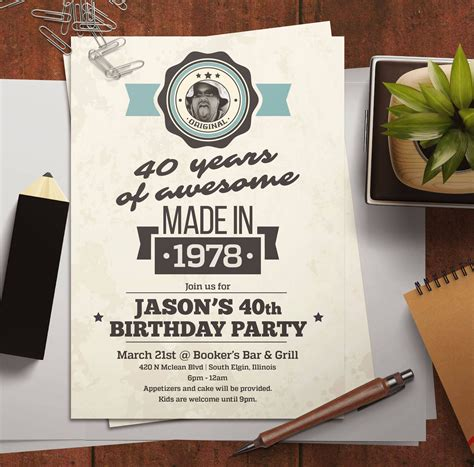 Photo 40th Birthday Invitation for men Made in 1979 with