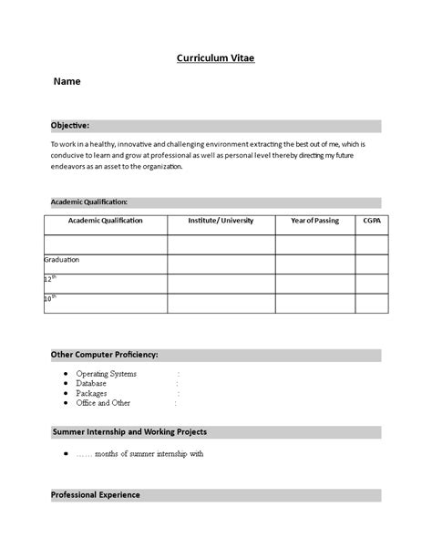 Simple Resume Format For Freshers Word | Templates at allbusinesstemplates.com