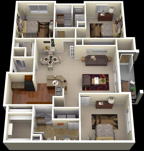 "50 Three ""3"" Bedroom Apartmenthouse Plans Architecture"