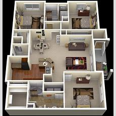 """50 Three """"3"""" Bedroom Apartmenthouse Plans Architecture"""