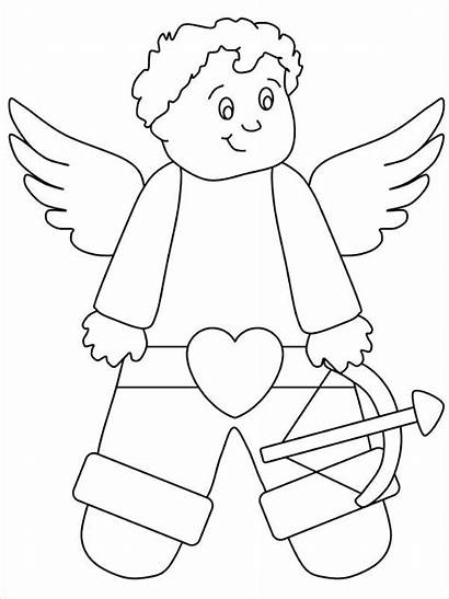 Coloring Cupid Valentines Pages Valentine Printable Advertisement