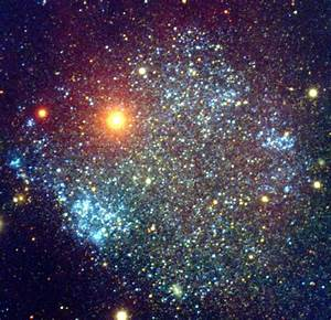 Sextans A (UGCA 205) is a tiny dwarf irregular galaxy with ...