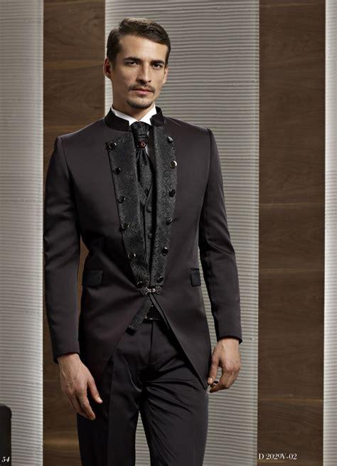 tom bateman suit dark brown groom tuxedo groomsmen mandarin lapel wedding