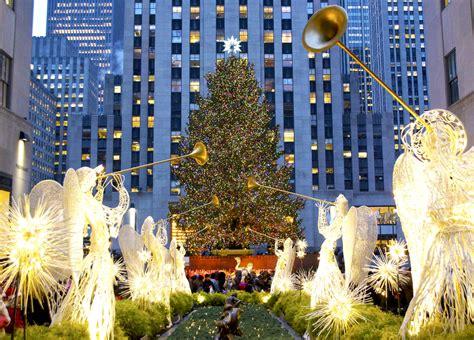 new york weihnachtsbaum am rockefeller center leuchtet