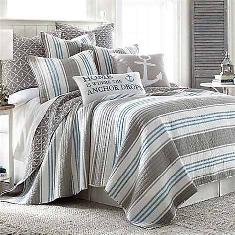 gray quilt bedding provincetown reversible quilt in grey bed bath beyond