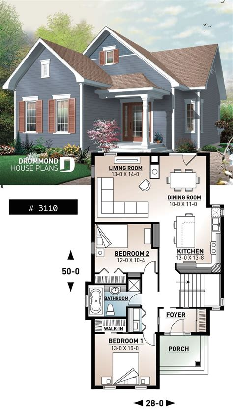 cape  bungalow house plan spacious  bedroom fireplace ideal  narrow lot modern