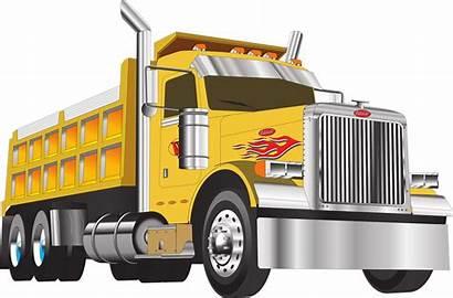 Truck Dump Peterbilt Flames Yellow Chrome Clipart